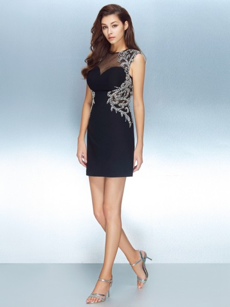 Sheath/Column Short/Mini Short Sleeves Crystal Jewel Net Dresses