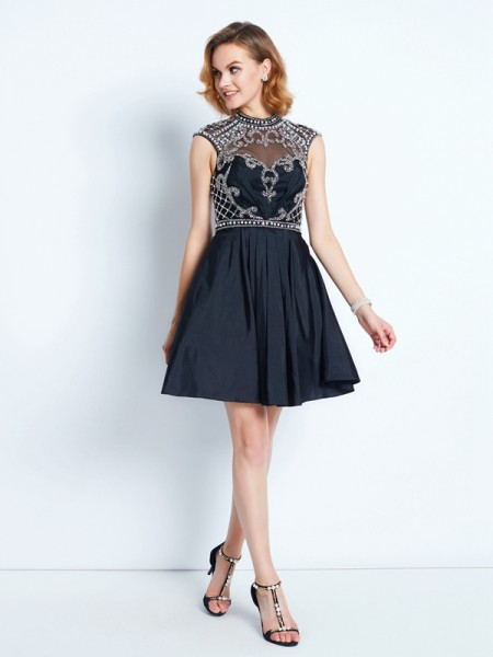 A-Line/Princess Short/Mini Sleeveless Beading High Neck Satin Dresses