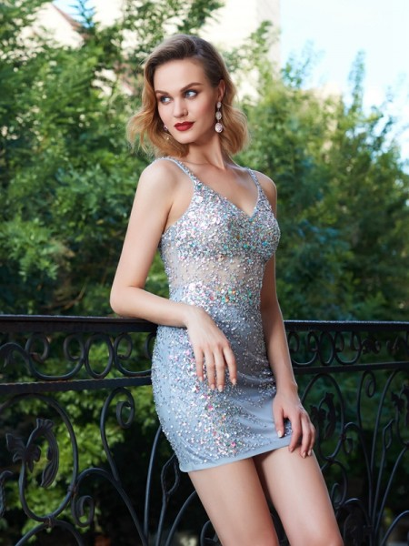 Sheath/Column Short/Mini Sleeveless Sequin Spaghetti Straps Net Dresses