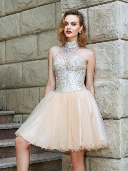 A-Line/Princess Short/Mini Sleeveless Beading Halter Net Dresses