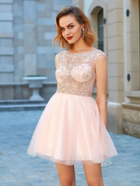 A-Line/Princess Short/Mini Short Sleeves Beading Scoop Net Dresses