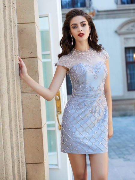 Sheath/Column Short/Mini Short Sleeves Beading Jewel Satin Dresses