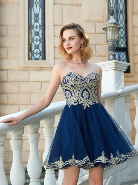 A-Line/Princess Short/Mini Sleeveless Applique Sweetheart Net Dresses