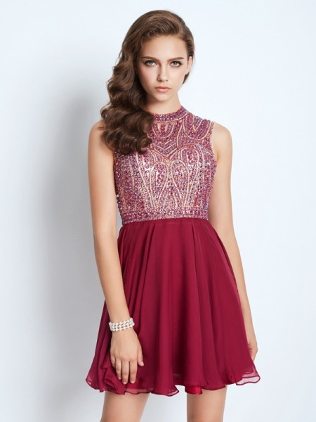A-Line/Princess Short/Mini Sleeveless Beading Jewel Chiffon Dresses