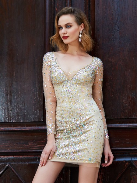 Sheath/Column Short/Mini Long Sleeves Rhinestone Scoop Net Dresses