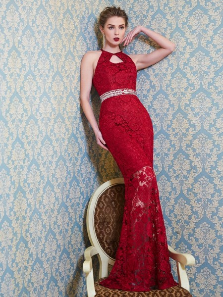 Sheath/Column Jewel Sleeveless Lace Floor-Length Beading Dresses