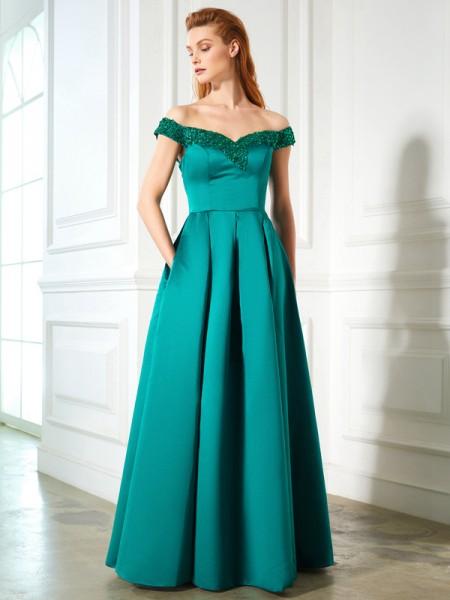 A-Line/Princess Off-the-Shoulder Sleeveless Satin Floor-Length Sequin Dresses