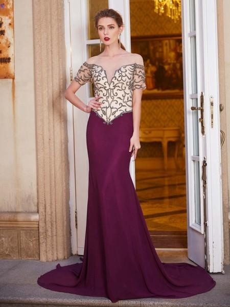 Sheath/Column Sheer Neck Short Sleeves Chiffon Court Train Beading Dresses
