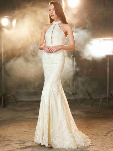 Sheath/Column Jewel Sleeveless Elastic Woven Satin Floor-Length Applique Dresses