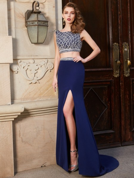 Sheath/Column Bateau Sleeveless Elastic Woven Satin Sweep/Brush Train Beading Two Piece Dresses