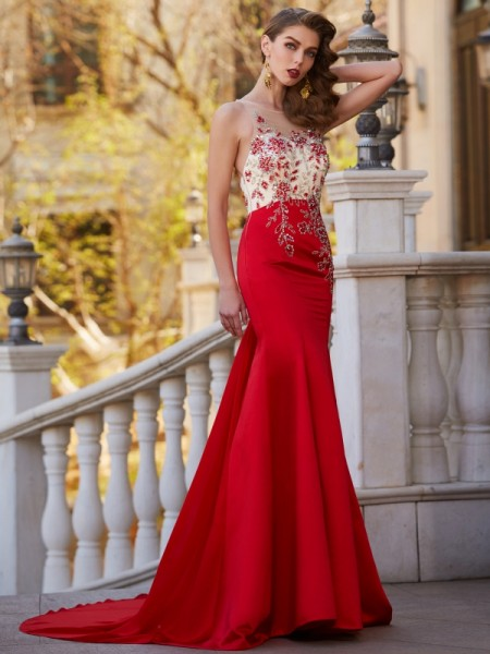Trumpet/Mermaid Sheer Neck Sleeveless Stain Court Train Applique Dresses