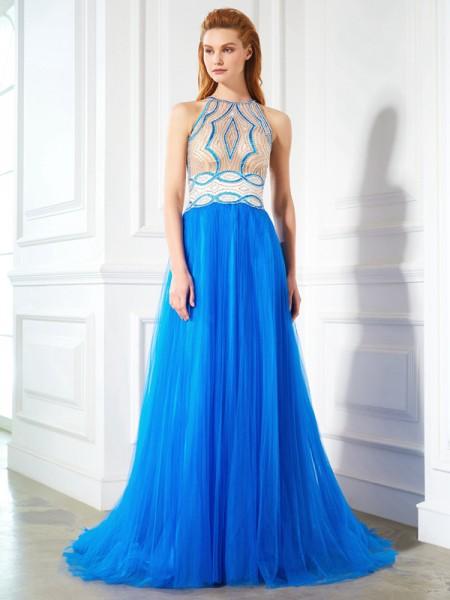 A-Line/Princess Jewel Sleeveless Net Floor-Length Beading Dresses