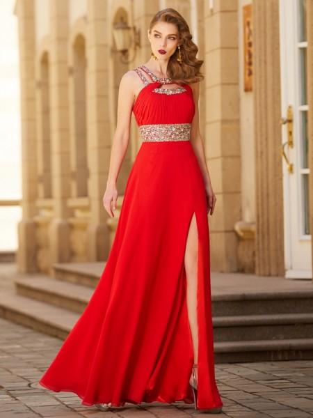 A-Line/Princess Scoop Sleeveless Chiffon Floor-Length Beading Dresses