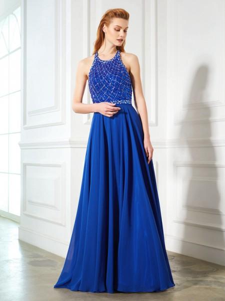 A-Line/Princess Jewel Sleeveless Chiffon Sweep/Brush Train Beading Dresses