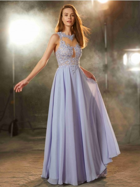 A-Line/Princess Scoop Sleeveless Chiffon Floor-Length Applique Dresses