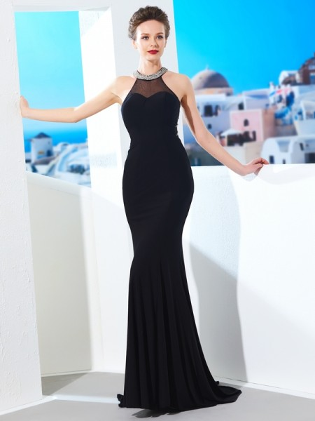 Sheath/Column Jewel Sleeveless Spandex Sweep/Brush Train Beading Dresses