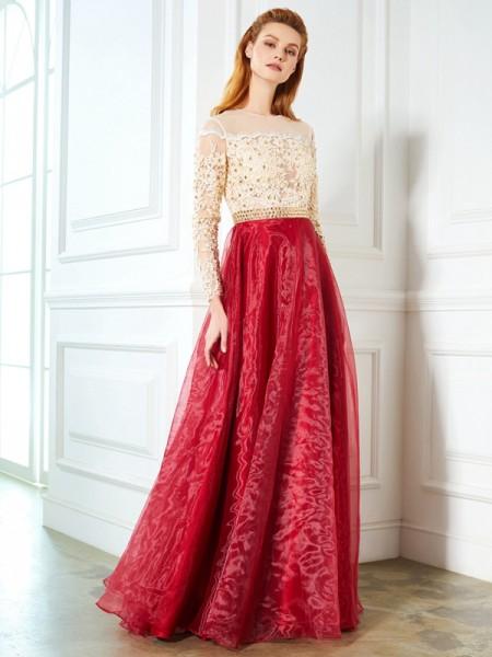 A-Line/Princess Sheer Neck Long Sleeves Organza Floor-Length Applique Dresses