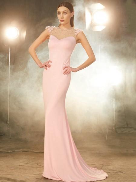Trumpet/Mermaid Jewel Short Sleeves Spandex Sweep/Brush Train Beading Dresses