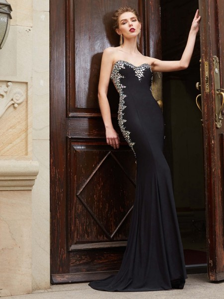 Sheath/Column Sweetheart Sleeveless Spandex Sweep/Brush Train Sequin Dresses