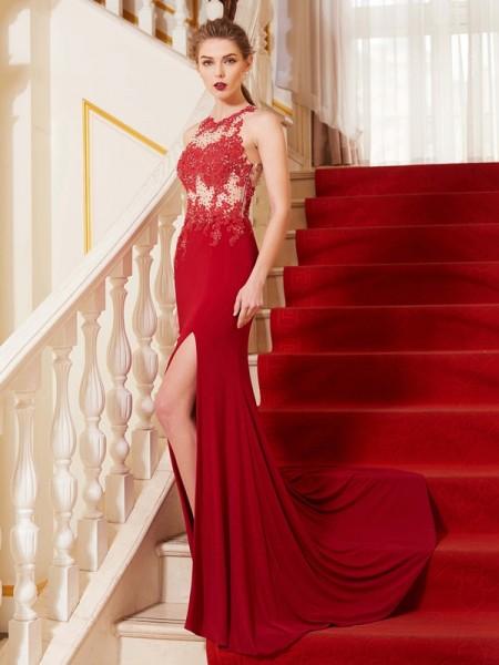 Sheath/Column Jewel Sleeveless Spandex Sweep/Brush Train Applique Dresses