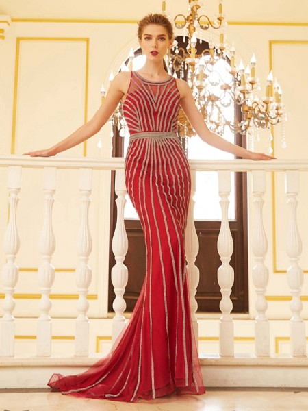 Sheath/Column Scoop Sleeveless Net Sweep/Brush Train Beading Dresses