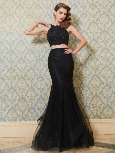 Trumpet/Mermaid Spaghetti Straps Sleeveless Tulle Floor-Length Applique Two Piece Dresses