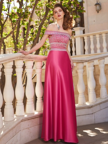 A-Line/Princess Off-the-Shoulder Sleeveless Satin Floor-Length Beading Two Piece Dresses
