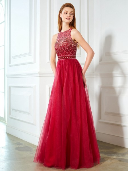 A-Line/Princess Scoop Sleeveless Tulle Floor-Length Beading Dresses