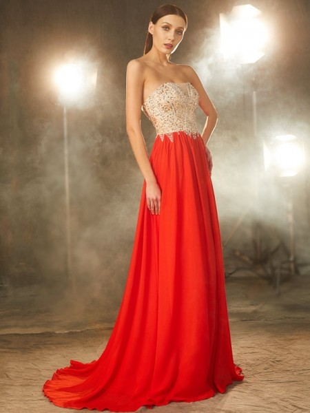 A-Line/Princess Strapless Sleeveless Chiffon Sweep/Brush Train Beading Dresses