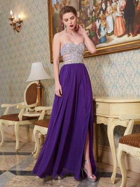A-Line/Princess Sweetheart Sleeveless Chiffon Floor-Length Crystal Dresses