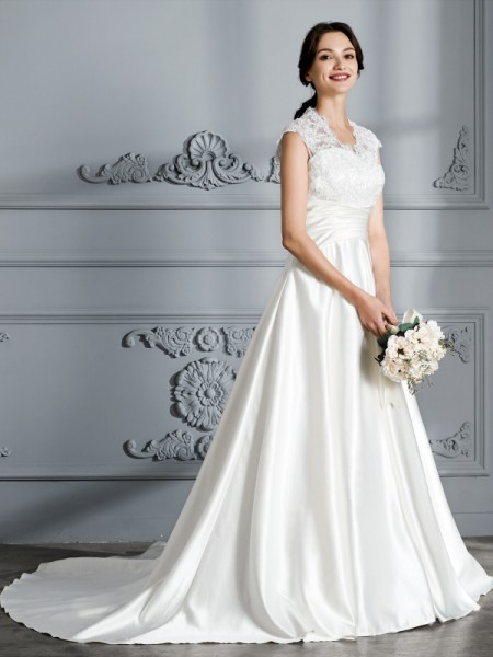 Ball Gown Court Train V-neck Sleeveless Ivory Satin Wedding Dresses