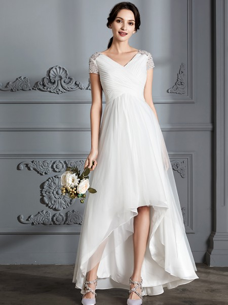A-Line/Princess Asymmetrical V-neck Short Sleeves Ivory Tulle Wedding Dresses