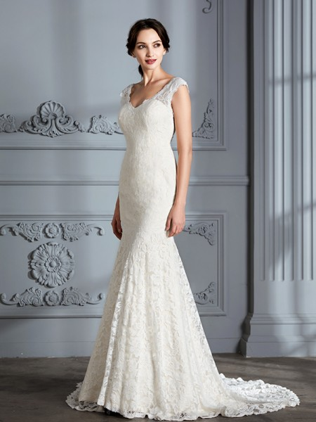 Trumpet/Mermaid Sweep/Brush Train V-neck Sleeveless Ivory Lace Wedding Dresses