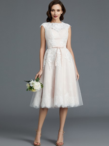 A-Line/Princess Knee-Length Bateau Sleeveless Ivory Tulle Wedding Dresses
