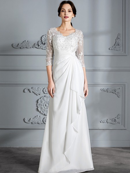 Sheath/Column Floor-Length V-neck 3/4 Sleeves Ivory Chiffon Wedding Dresses