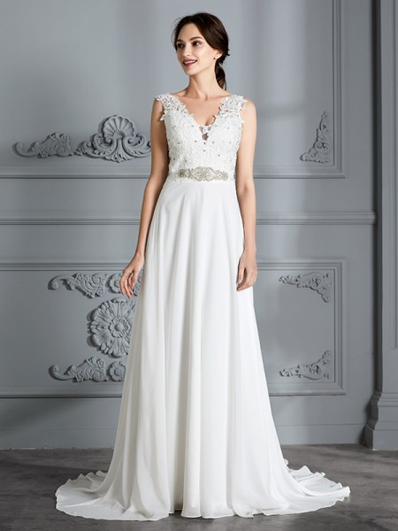 A-Line/Princess Sweep/Brush Train V-neck Sleeveless Ivory Chiffon Wedding Dresses