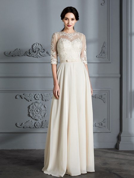 A-Line/Princess Floor-Length Scoop 1/2 Sleeves Ivory Chiffon Wedding Dresses