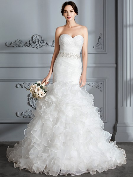 Trumpet/Mermaid Sweep/Brush Train Sweetheart Sleeveless Ivory Satin Wedding Dresses