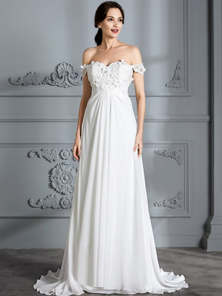 A-Line/Princess Floor-Length Off-the-Shoulder Sleeveless Ivory Chiffon Wedding Dresses