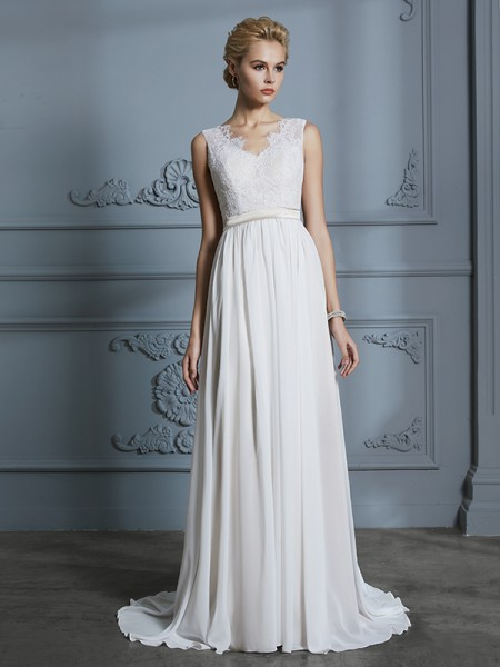 A-Line/Princess Court Train V-neck Sleeveless Ivory Chiffon Wedding Dresses