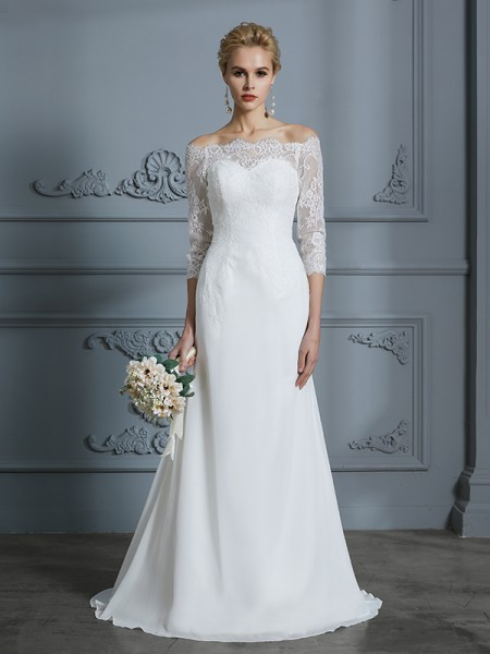 Trumpet/Mermaid Sweep/Brush Train Off-the-Shoulder 1/2 Sleeves Ivory Chiffon Wedding Dresses