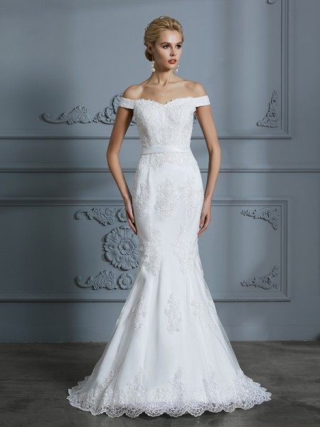 Trumpet/Mermaid Sweep/Brush Train Off-the-Shoulder Sleeveless Ivory Tulle Wedding Dresses