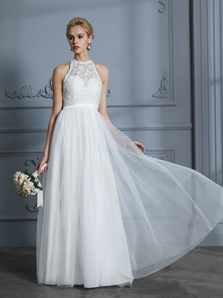 A-Line/Princess Floor-Length Scoop Sleeveless Ivory Tulle Wedding Dresses