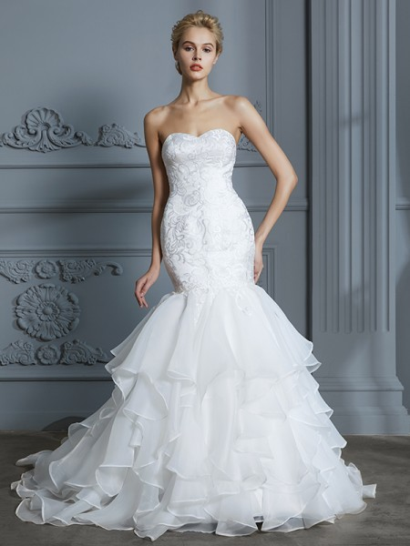 Trumpet/Mermaid Sweep/Brush Train Sweetheart Sleeveless Ivory Organza Wedding Dresses