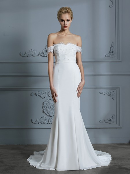 Trumpet/Mermaid Sweep/Brush Train Off-the-Shoulder Sleeveless Ivory Chiffon Wedding Dresses