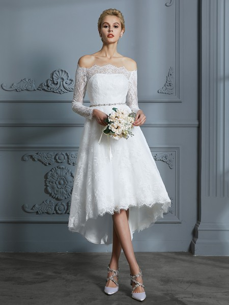 A-Line/Princess Asymmetrical Off-the-Shoulder Long Sleeves Ivory Lace Wedding Dresses