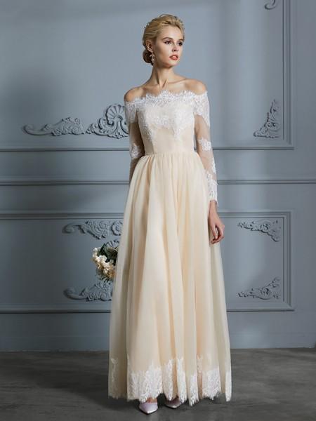 A-Line/Princess Floor-Length Off-the-Shoulder Long Sleeves Champagne Tulle Wedding Dresses