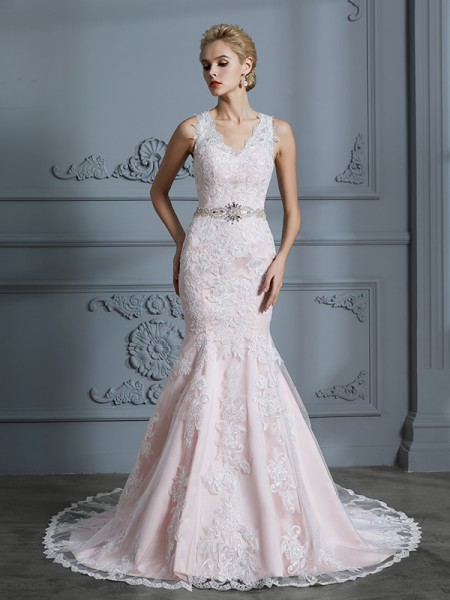 Trumpet/Mermaid Court Train V-neck Sleeveless Pink Tulle Wedding Dresses