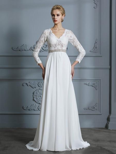 A-Line/Princess Sweep/Brush Train V-neck 3/4 Sleeves Ivory Chiffon Wedding Dresses