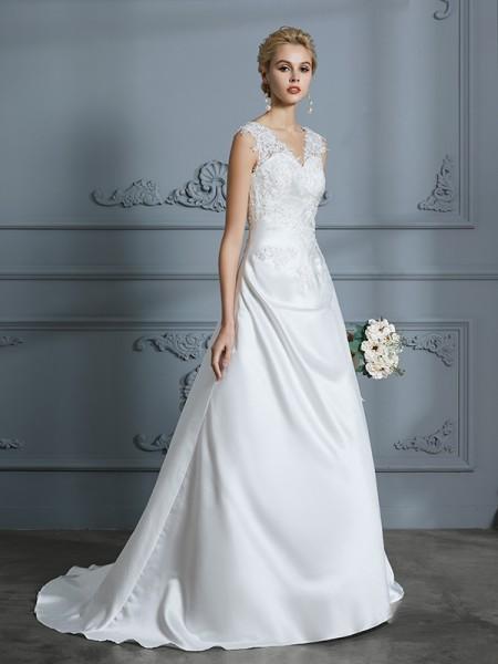 A-Line/Princess Sweep/Brush Train V-neck Sleeveless Ivory Satin Wedding Dresses